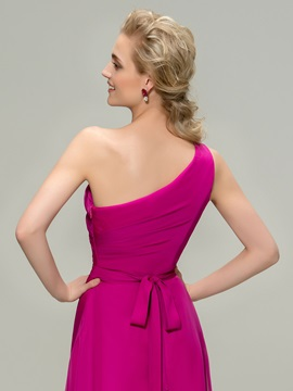 Eye-catching Ruched One-Shoulder High-Low Bridesmaid Dress
