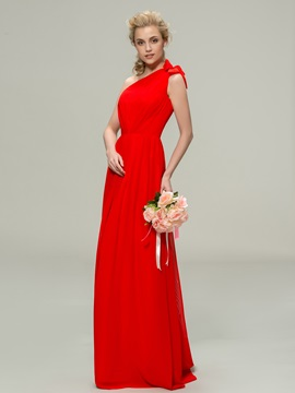 Simple Style One-Shoulder A-Line Long Bridesmaid Dress