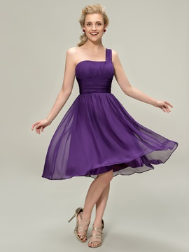 One Shoulder Knee-Length Pleats Bridesmaid Dress