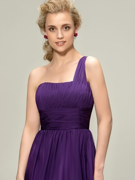 Consice One Shoulder Knee-Length Pleats Bridesmaid Dress