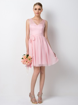Charming V-Neck Straps A-Line Short Pink Bridesmaid Dress