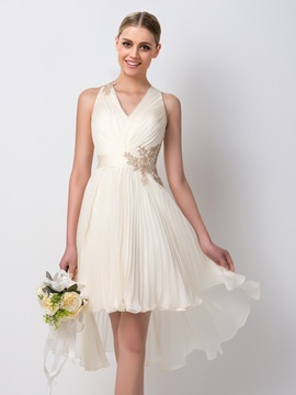 Elegant Ruched V-Neck Short Front Long Back Bridesmaid Dress
