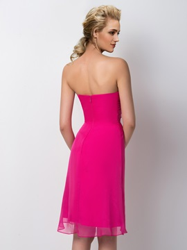 Knee Length Sheath Strapless Sweetheart Bridesmaid Dress