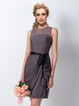 Sheath Jewel Neck Chiffon Ruched Short Bridesmaid Dress