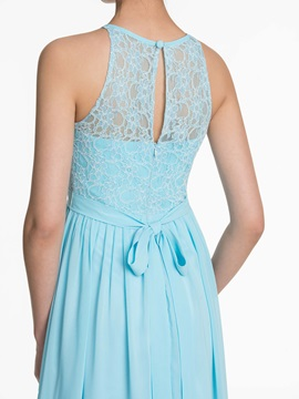 Halter Lace A Line Long Bridesmaid Dress