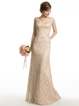 Sheath Long V-Neck Lace Bridesmaid Dress