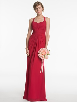 Halter A Line Backless Long Bridesmaid Dress