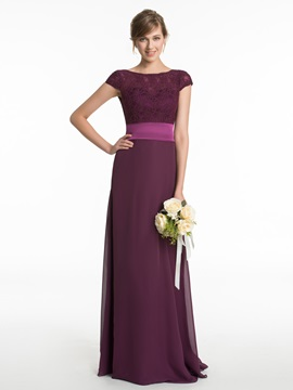 Bateau Lace A Line Long Bridesmaid Dress