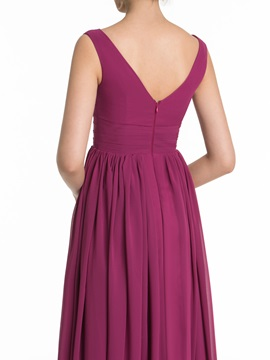 Simple V Neck Split Front Long Bridesmaid Dress