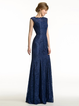 Jewel Neck Open Back Sheath Long Lace Bridesmaid Dress