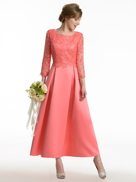 Cheap Scoop Neck Lace 3/4 Sleeve Tea Length Satin Bridesmaid Dress