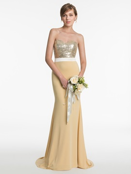 Shiny Sweetheart Sequined Sheath Bridesmaid Dress