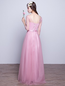 V Neck A Line Long Bridesmaid Dress