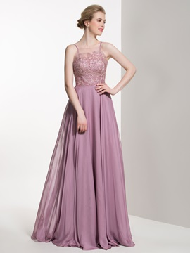 Elegant Spaghetti Straps Lace A Line Bridesmaid Dress