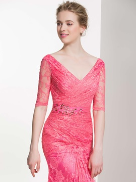 Elegant V Neck Beading Sheath Lace Bridesmaid Dress
