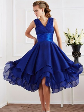 Beautiful V Neck A Line Asymmetry Bridesmaid Dress
