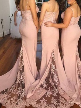 Spaghetti Strap Appliques Lace Mermaid Bridesmaid Dress