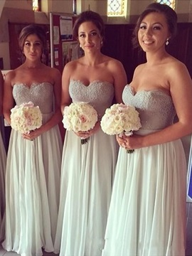 Lace Sweetheart Chiffon Floor-Length Bridesmaid Dress