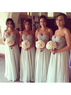 Lace Sweetheart Floor-Length Bridesmaid Dress