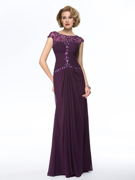 Elegant Bateau Neck Short Sleeve  Long Mother of the Bride Dress