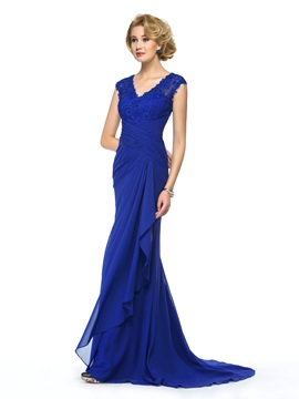 Beaded Lace V-Neck Blue Long Mother of the Bride Dress