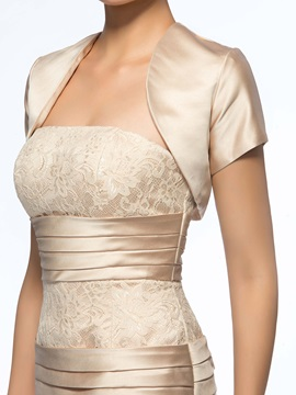 Elegant Sheath/Column Strapless Ruched Short Lace Mother of the Bride Dress With Jacket/Shawl