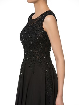Beaded Appliques Black Mother of the Bride Dress
