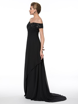 Off-The-Shoulder Lace Floor-Length Mother of the Bride Dress