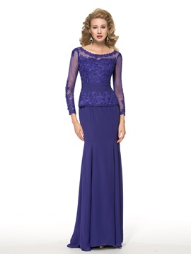 See-Through Long Sleeve Lace Floor-Length Trumpet Mother of the Bride Dress