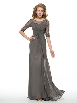 Half Sleeve Beading Composite Silk Sheath Mother of the Bride Dress