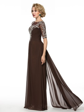 Beading Sequins Floor-Length Half Sleeve Mother of the Bride Dress