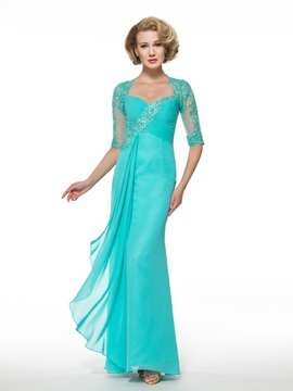 Half Sleeve Appliques Lace Sheath Chiffon Mother of the Bride Dress
