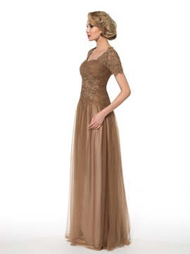 Square Neck Short Sleeves Floor-Length Lace Tulle Mother of the Bride Dress