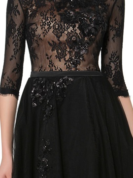 Half Sleeves Floor-Length Sequins Lace Mother of the Bride Dress