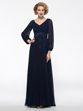 Floor Length V-Neck Long Sleeve Mother of the Bride Dress