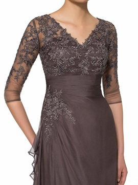 V-Neck Half Sleeve Lace A-Line Plus Size Mother of the Bride Dress