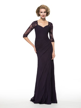 Sheath Appliques Half Sleeve Chiffon Mother of the Bride Dress