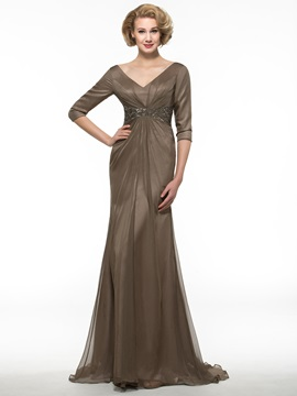 V-Neck Long Sleeve Brown  Long Mother of the Bride Dress