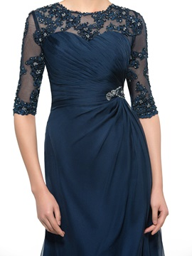 Beaded Lace Jewel Neck Half Sleeve Long Mother of the Bride Dress