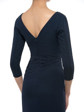 Beaded V-Neck 3/4 Sleeve Sheath Long Mother Dress