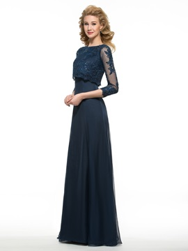 Sequined Lace 3/4 Sleeves Long Mother of the Bride Dress