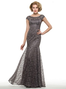Scoop Neck Short Sleeve Mermaid Lace Mother of the Bride Dress