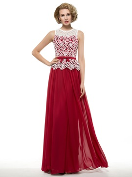 Floor Length A-Line Burgundy Chiffon Mother of the Bride Dress