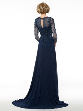 A-Line Sweep Train 3/4 Sleeve Mother of the Bride Dress