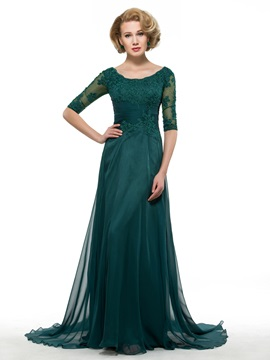 Scoop Neck Half Sleeve Dark Green Chiffon Mother of the Bride Dress
