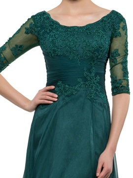 Scoop Neck Half Sleeve Dark Green Mother Dress