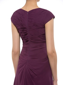 Ruched Beaded Sweetheart Grape Mother of the Bride Dress