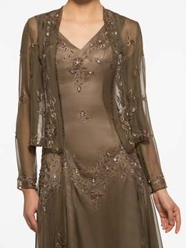 Embroidery Beading Asymmetry Mother of the Bride Dress with Jacket