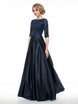Floor Length A-Line Half Sleeve Beaded Mother of the Bride Dress