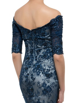 Mermaid Dark Navy Lace Off the Shoulder Mother of the Bride Dress